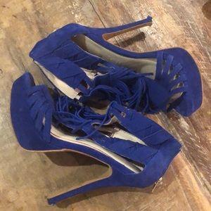 Blue Fringe Flirty Heel